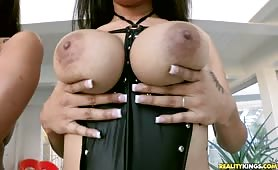Two hot big naturals dominate and huge cock.