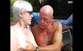 My Grandpa get dick  sucked  by stranger mature  woman in front  his wife