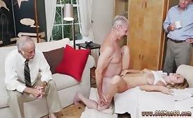 Grandpa fucks sexy slut girl in front of his old friends