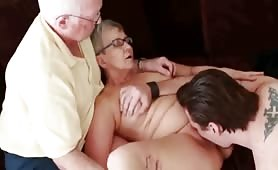 Mature couple having fun with their 18 years old roomate guy