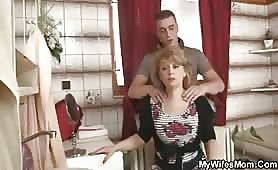 His wife goes to work and fucks his mother-in-law