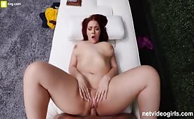 Horny redhead slut rides dick until he cum inside her