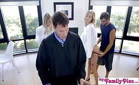 Church slut fucks step brother behind step dads back